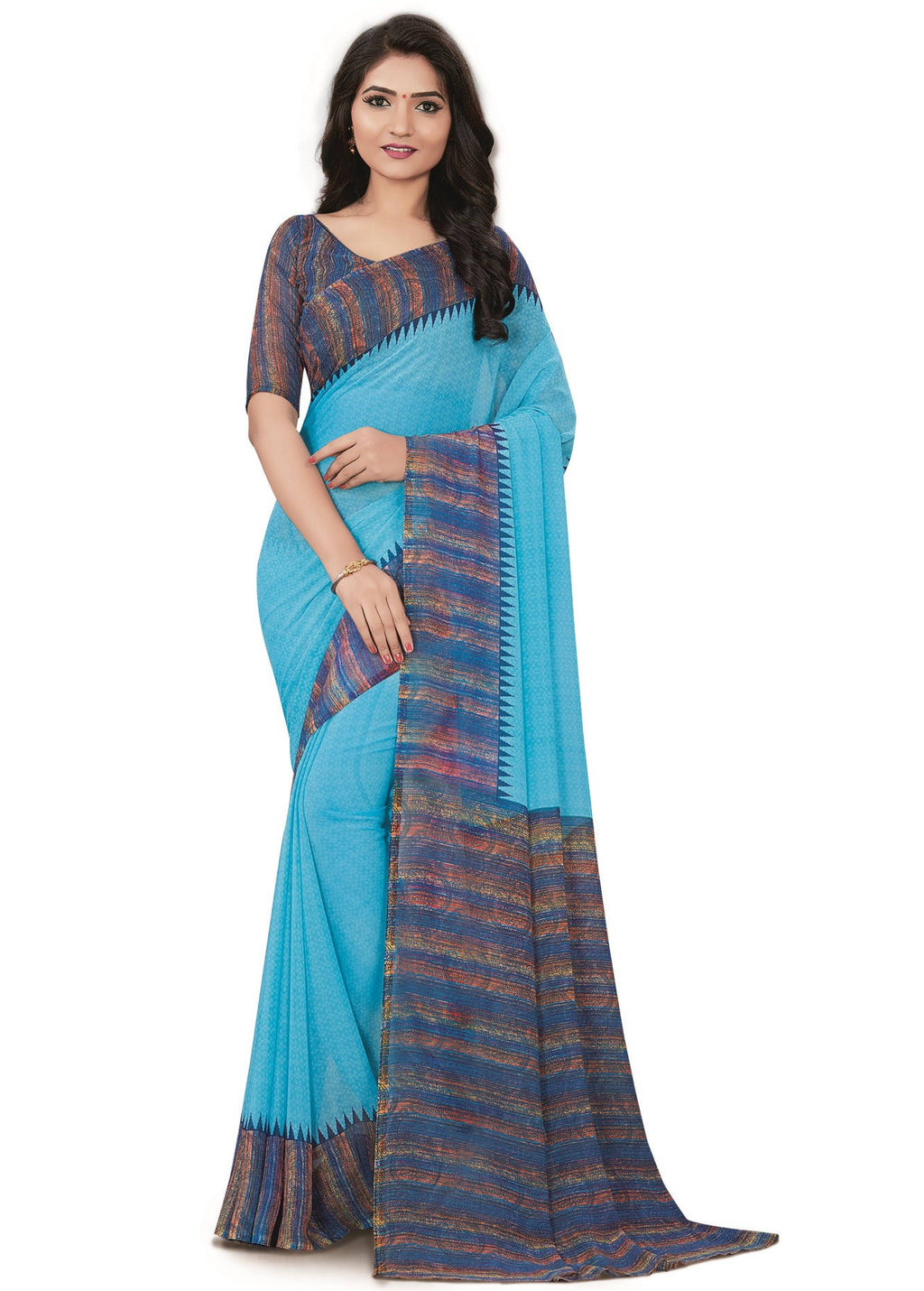 Aqua Blue Color Bember Georgette Printed Office Wear Sarees NYF-7651
