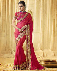 Pink Color Crush Georgette Designer Wedding Function Sarees : Saptapadi Collection  YF-52099