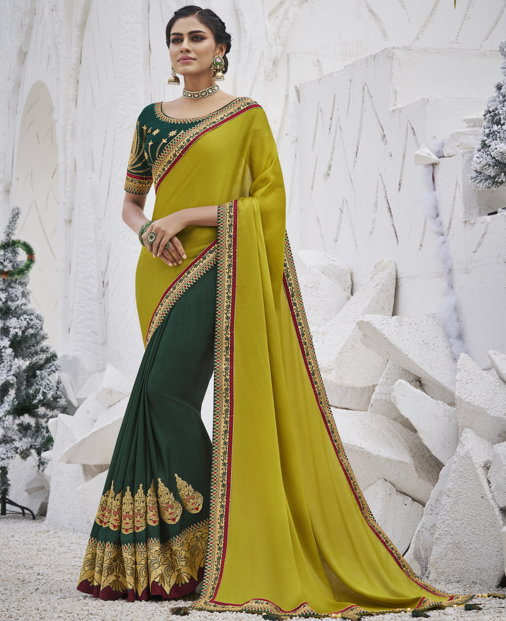 Green Color Two Tone Silk Exquisite Party Wear Sarees : NYF-6163