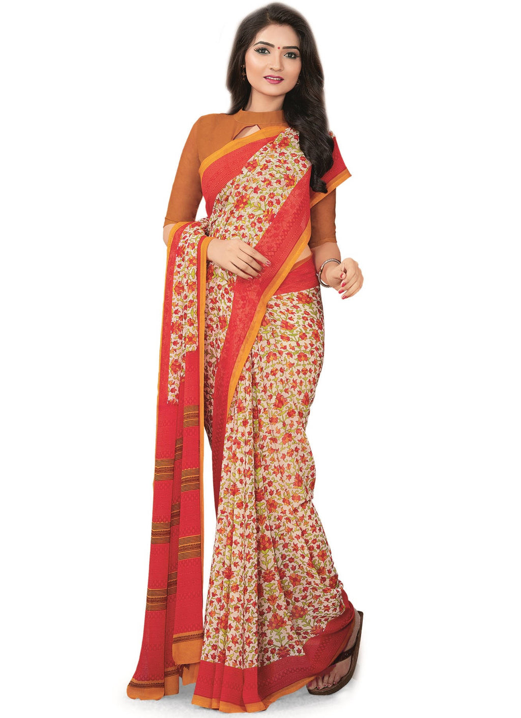 Cream & Pink Color Bember Georgette Printed Office Wear Sarees NYF-7652