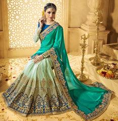 Light & Dark Green Color Georgette Designer Wedding Function Sarees : Saptapadi Collection  YF-52100