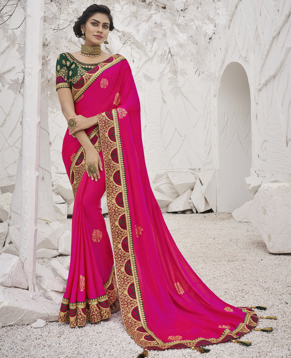 Rani Pink Color Two Tone Silk Exquisite Party Wear Sarees : NYF-6164