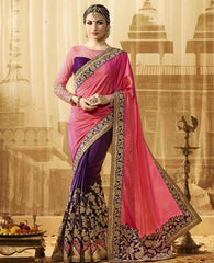 Pink & Purple Color Raw Silk Designer Wedding Function Sarees : Saptapadi Collection  YF-52101