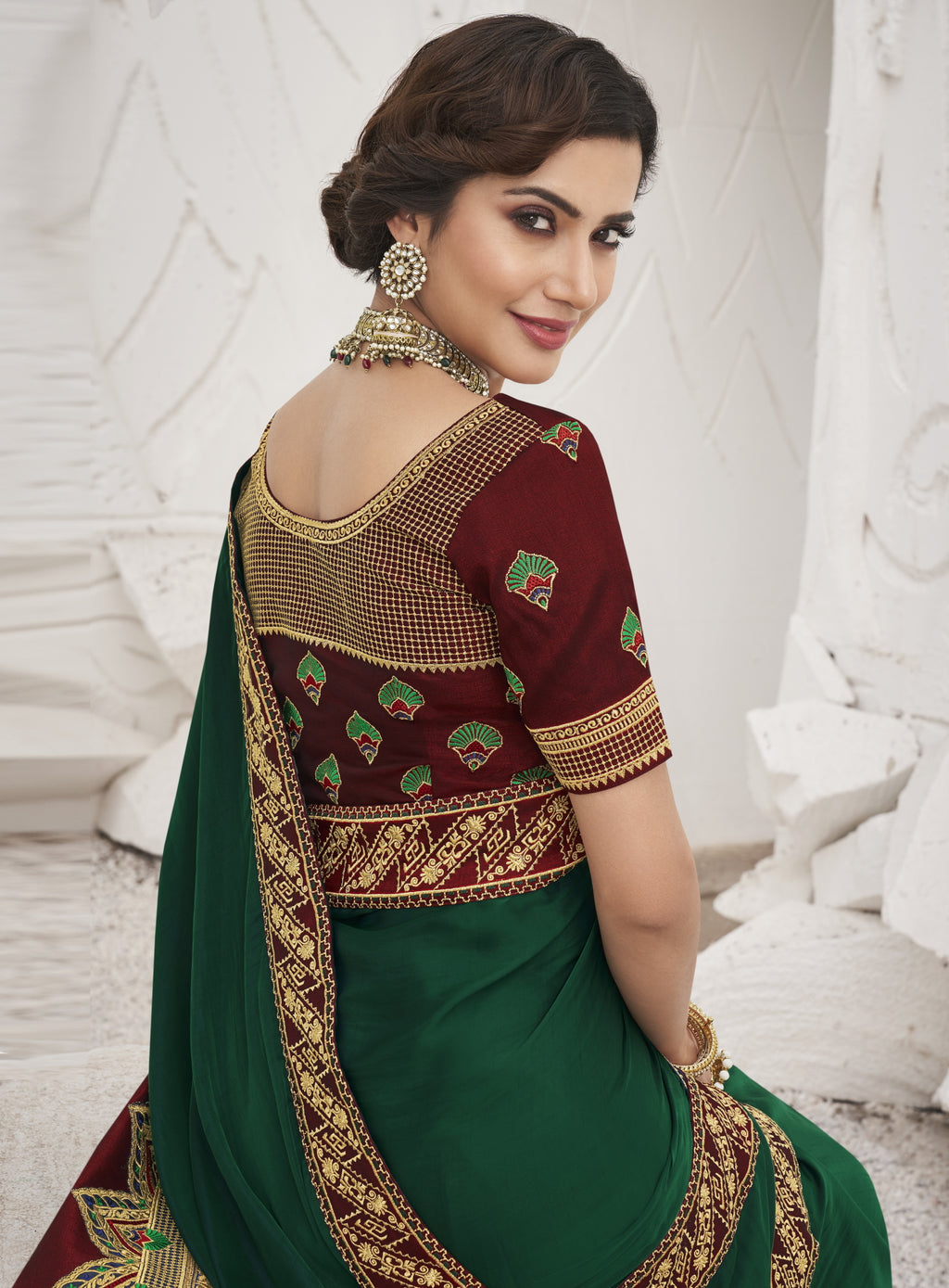 Green Color Two Tone Silk Exquisite Party Wear Sarees : NYF-6165