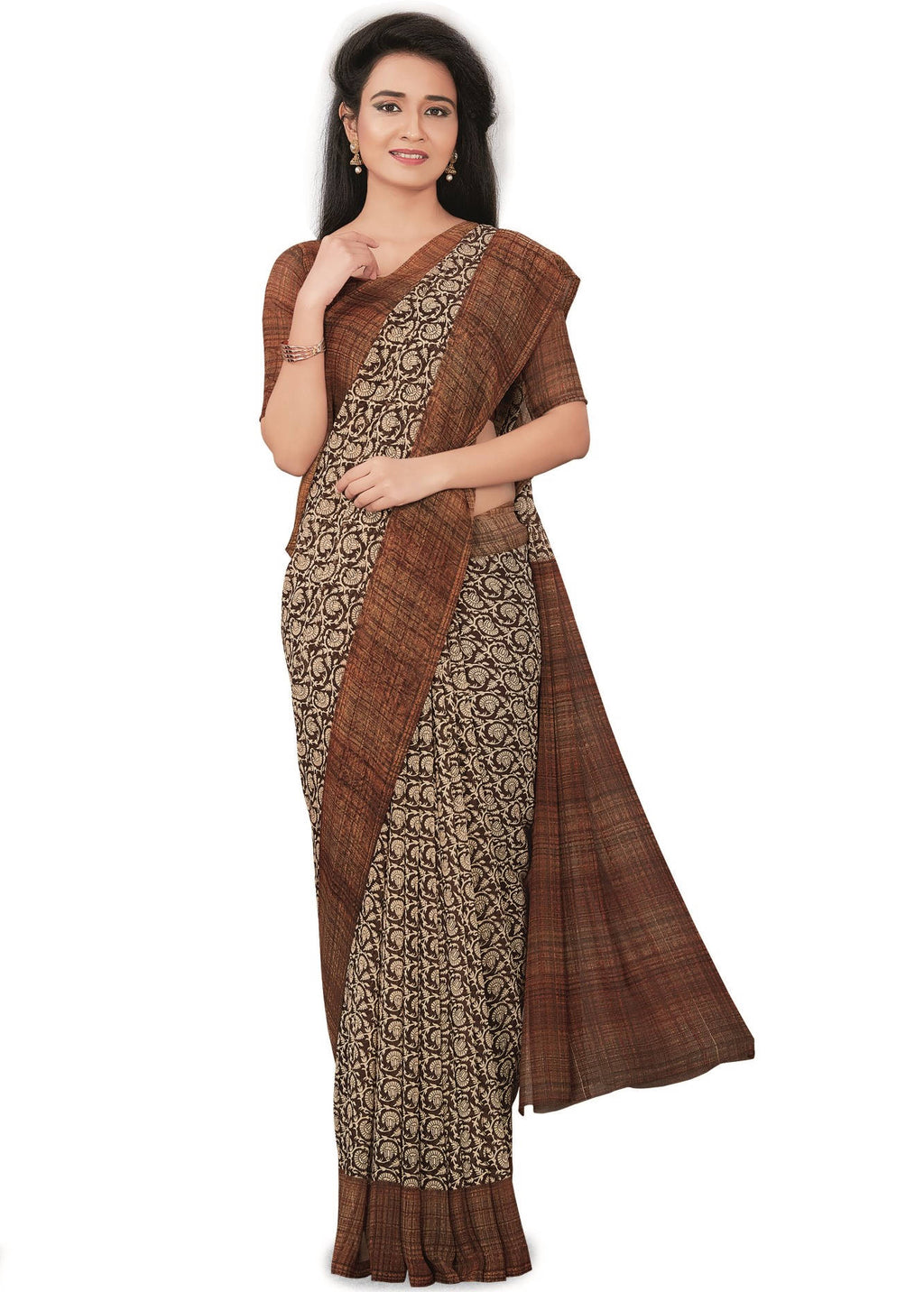 White & Brown Color Bember Georgette Printed Office Wear Sarees NYF-7654