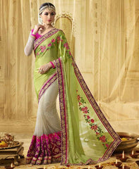 White & Parrot Green Color Half Net & Half Georgette Designer Wedding Function Sarees : Saptapadi Collection  YF-52102