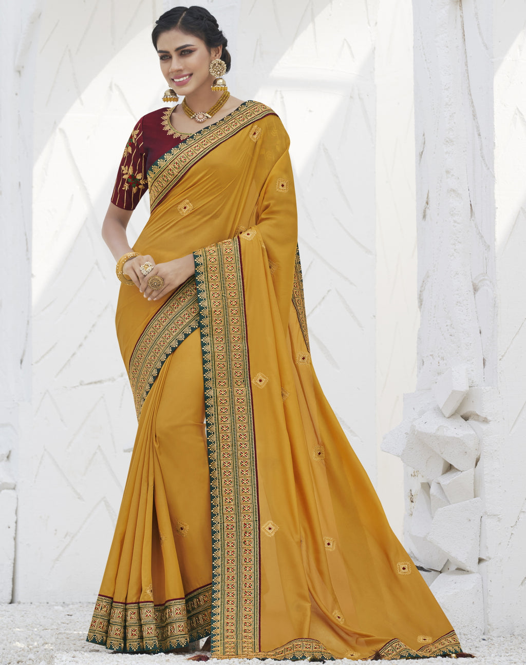 Yellow Color Two Tone Silk Exquisite Party Wear Sarees : NYF-6166