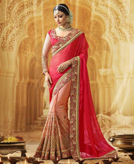 Light & Dark Pink Color Wrinkle Chiffon Designer Wedding Function Sarees : Saptapadi Collection  YF-52103