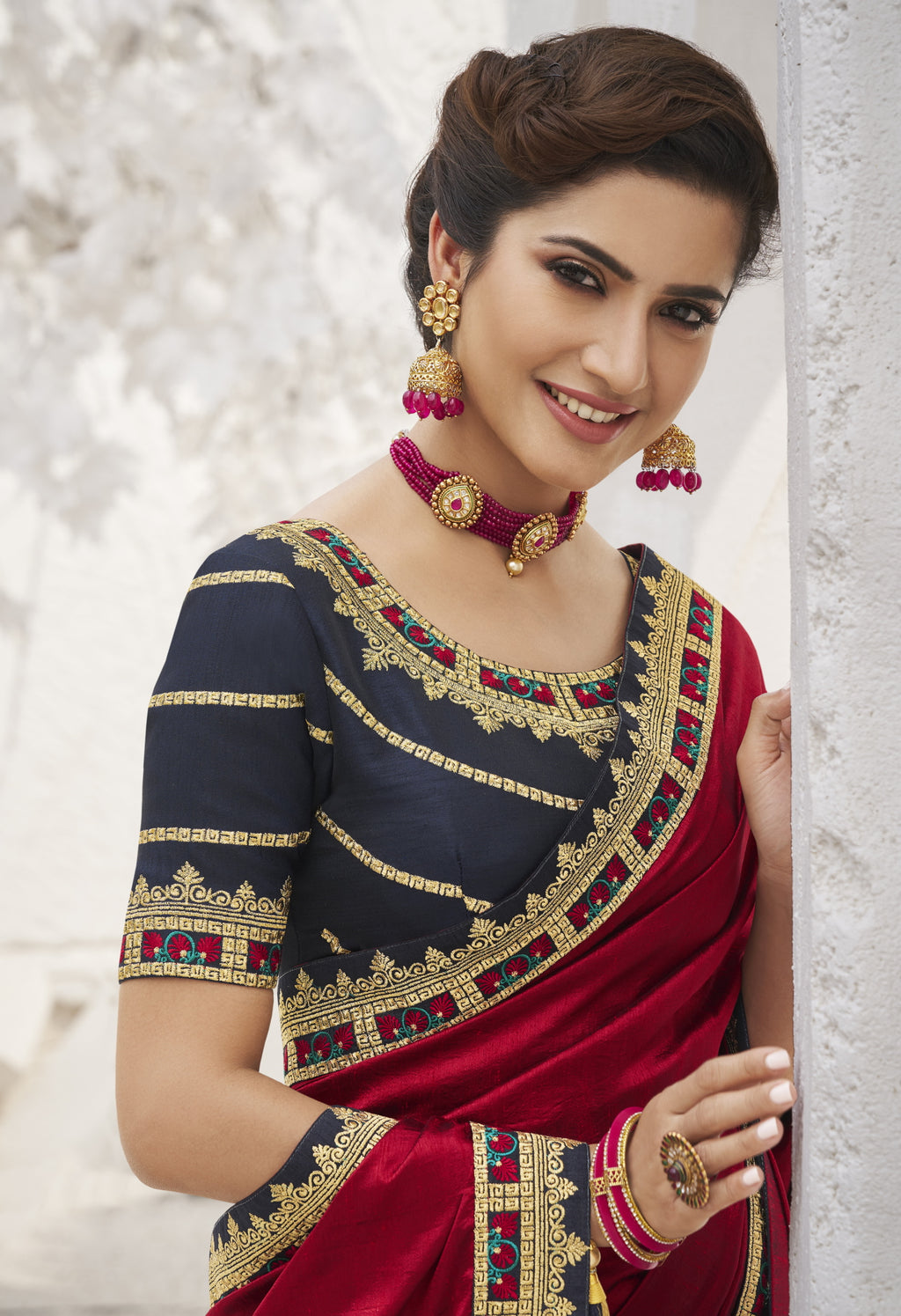 Red Color Two Tone Silk Exquisite Party Wear Sarees : NYF-6167