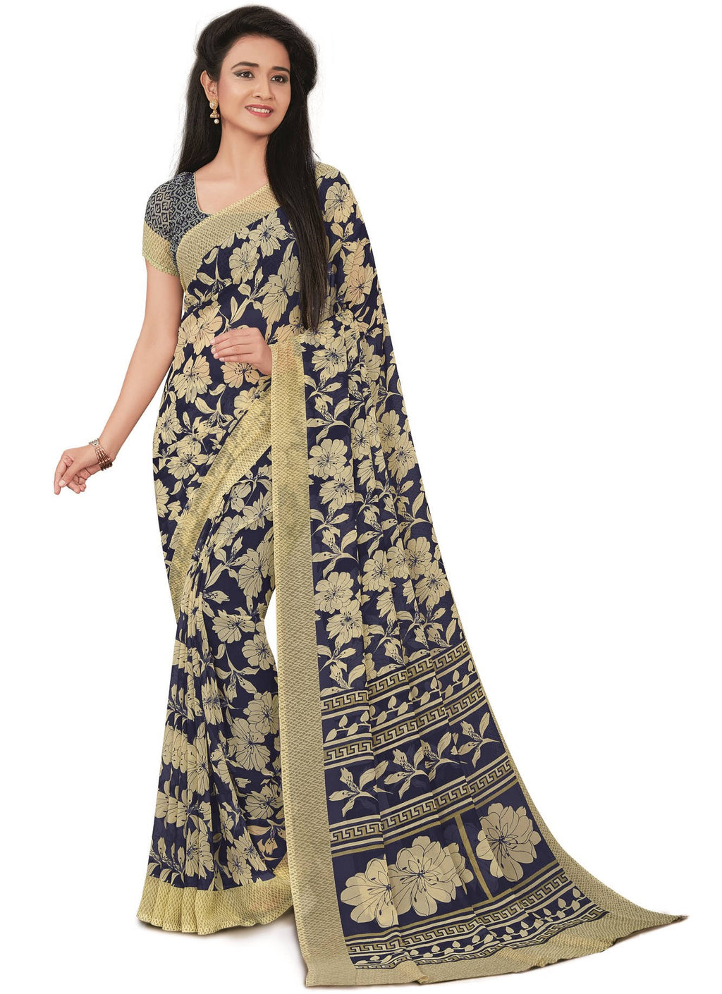 Blue Color Bember Georgette Printed Office Wear Sarees NYF-7656