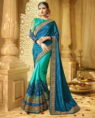 Blue & Green Color Raw Silk Designer Wedding Function Sarees : Saptapadi Collection  YF-52104