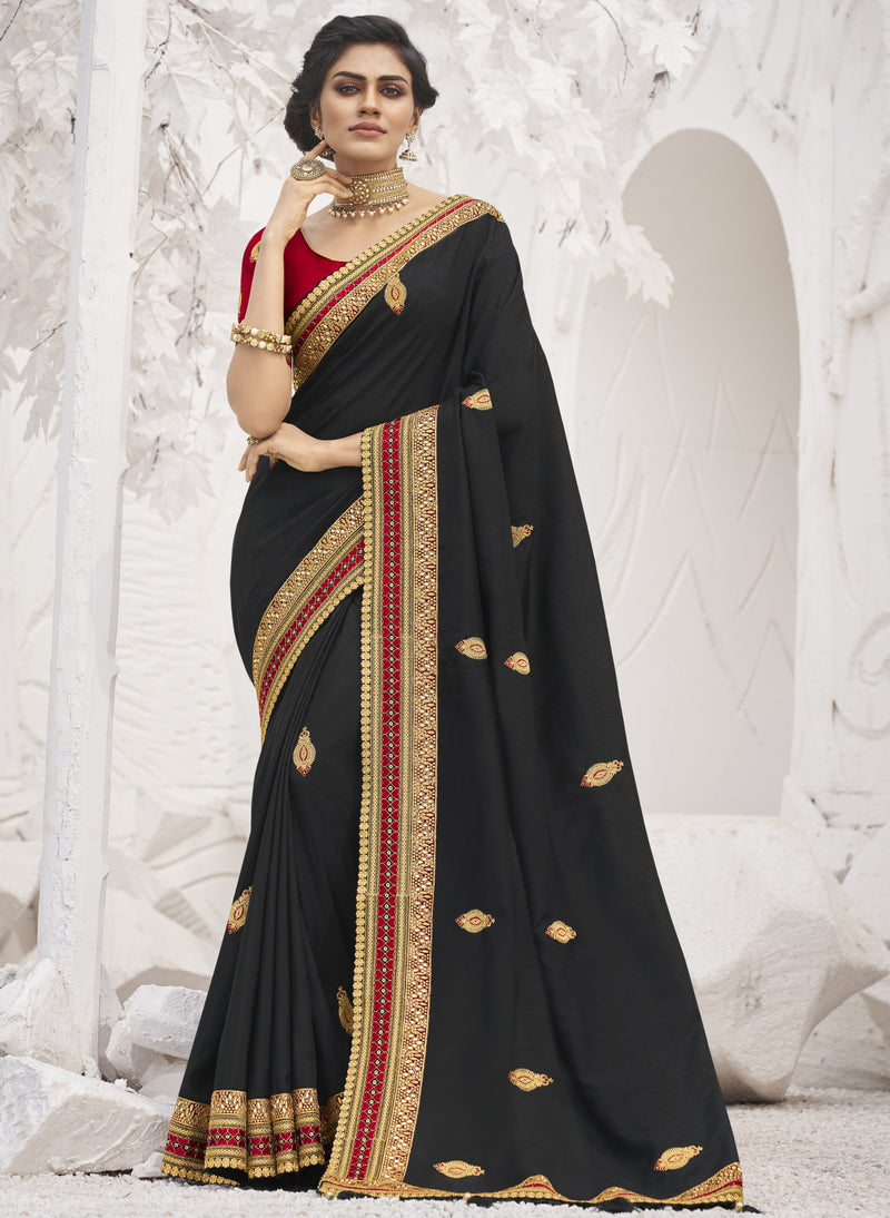 Black Color Two Tone Silk Exquisite Party Wear Sarees : NYF-6168