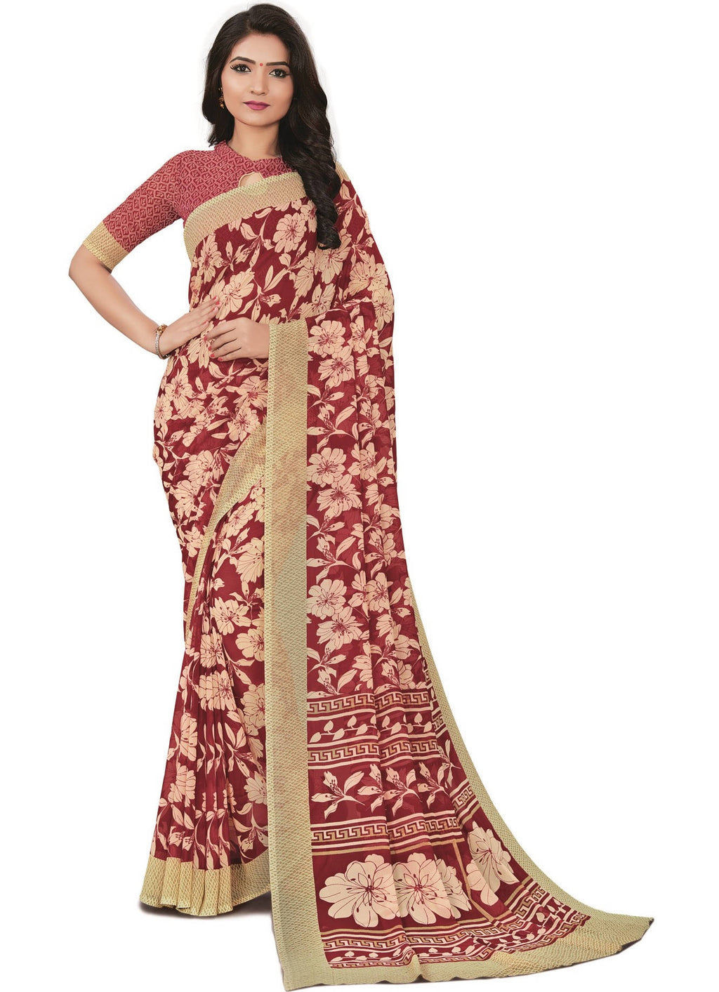 Red Color Bember Georgette Printed Office Wear Sarees NYF-7657