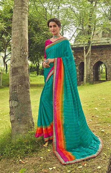 Firozi and Pink Color Georgette Casual Wear Saree-  Orchid Collection  YF#11522