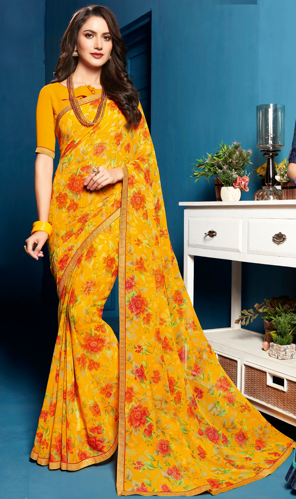Yellow Color Georgette Floral Print Sarees NYF-5282