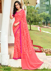 Pink Color Georgette Kitty Party Sarees : Pranavir Collection YF-61448