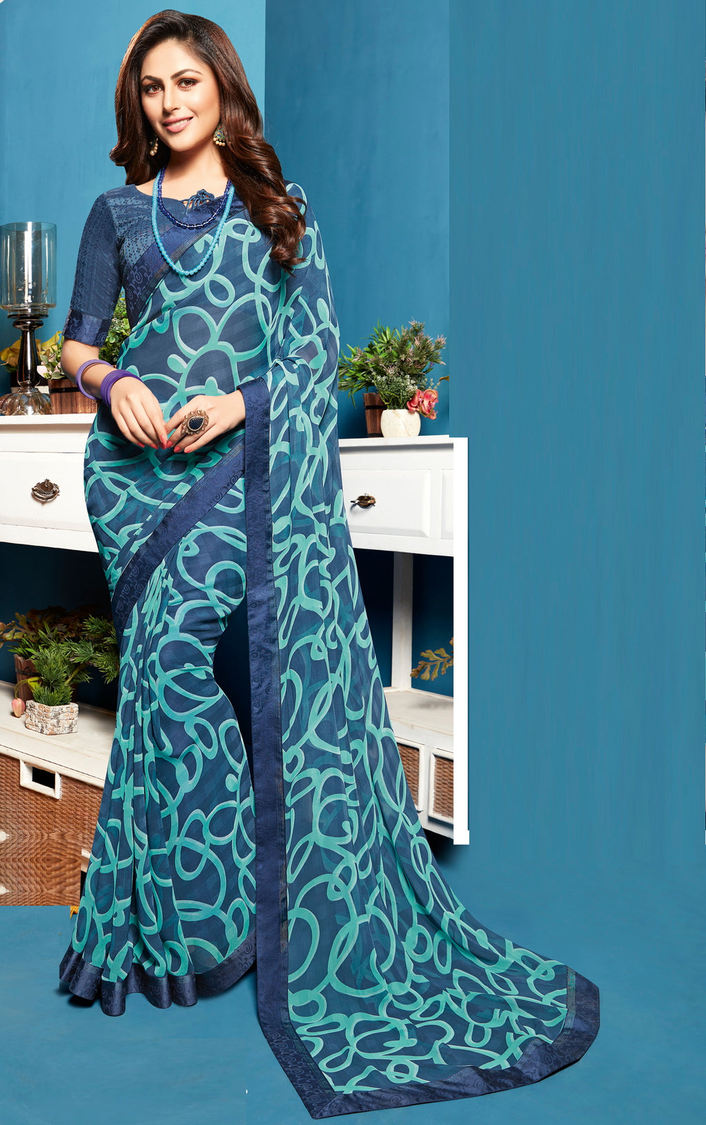 Blue Color Georgette Digital Print Sarees NYF-5283