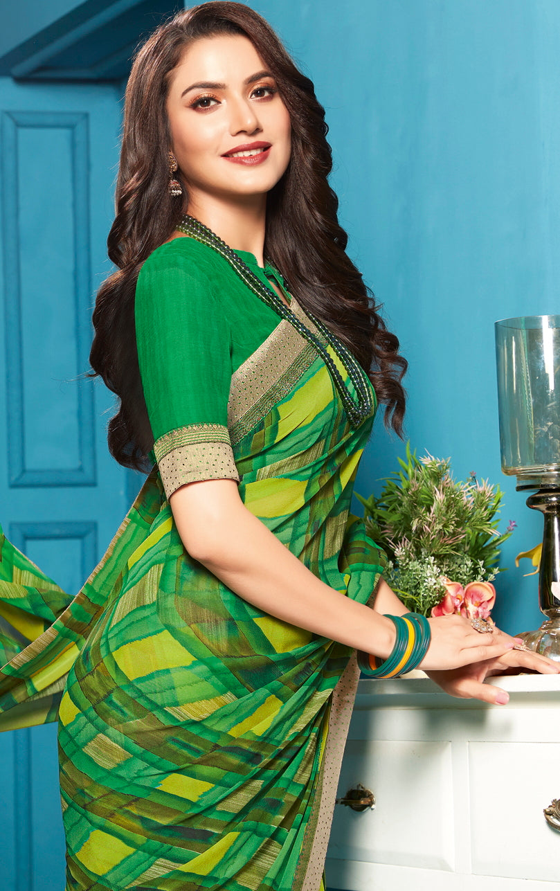 Green Color Georgette Checks Print Sarees NYF-5284