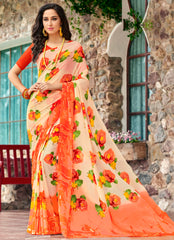 Peach & Orange Color Georgette Kitty Party Sarees : Pranavir Collection YF-61465