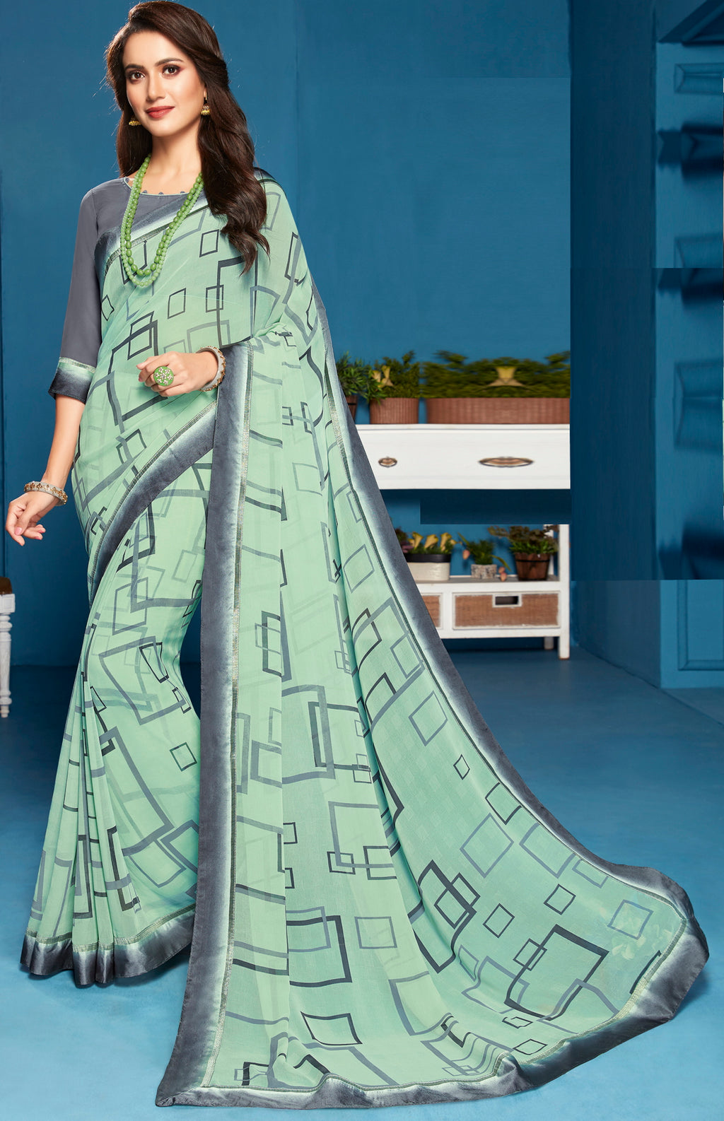 Aqua Green Color Georgette Digital Print Sarees NYF-5286
