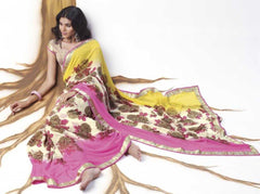 Pink Cream and Yellow  Colour  Chiffon  Sarees : Lehar Collection -  YF-14021