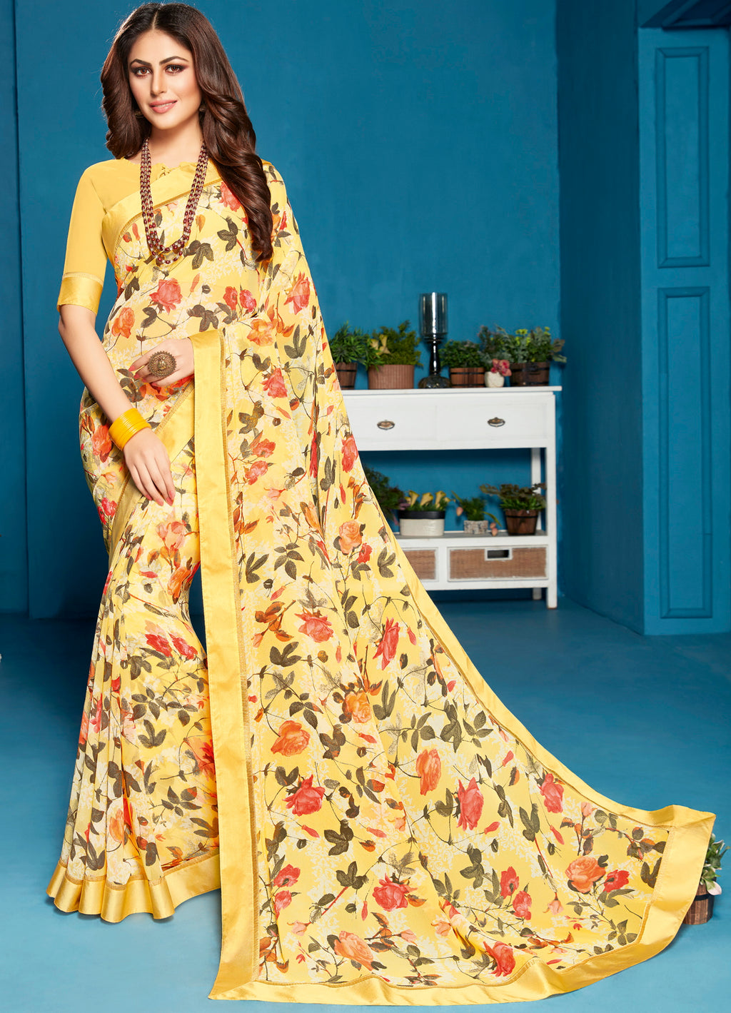Yellow Color Georgette Floral Print Sarees NYF-5287