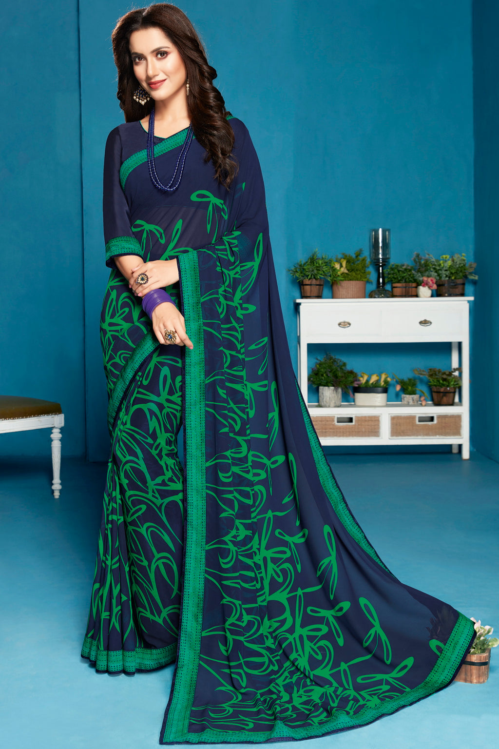 Blue Color Georgette Digital Print Sarees NYF-5288