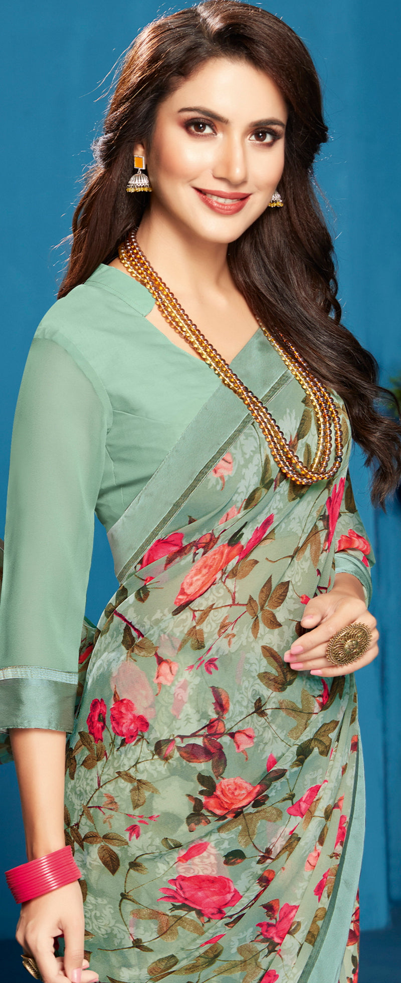 Sea Green Color Georgette Floral Print Sarees NYF-5289