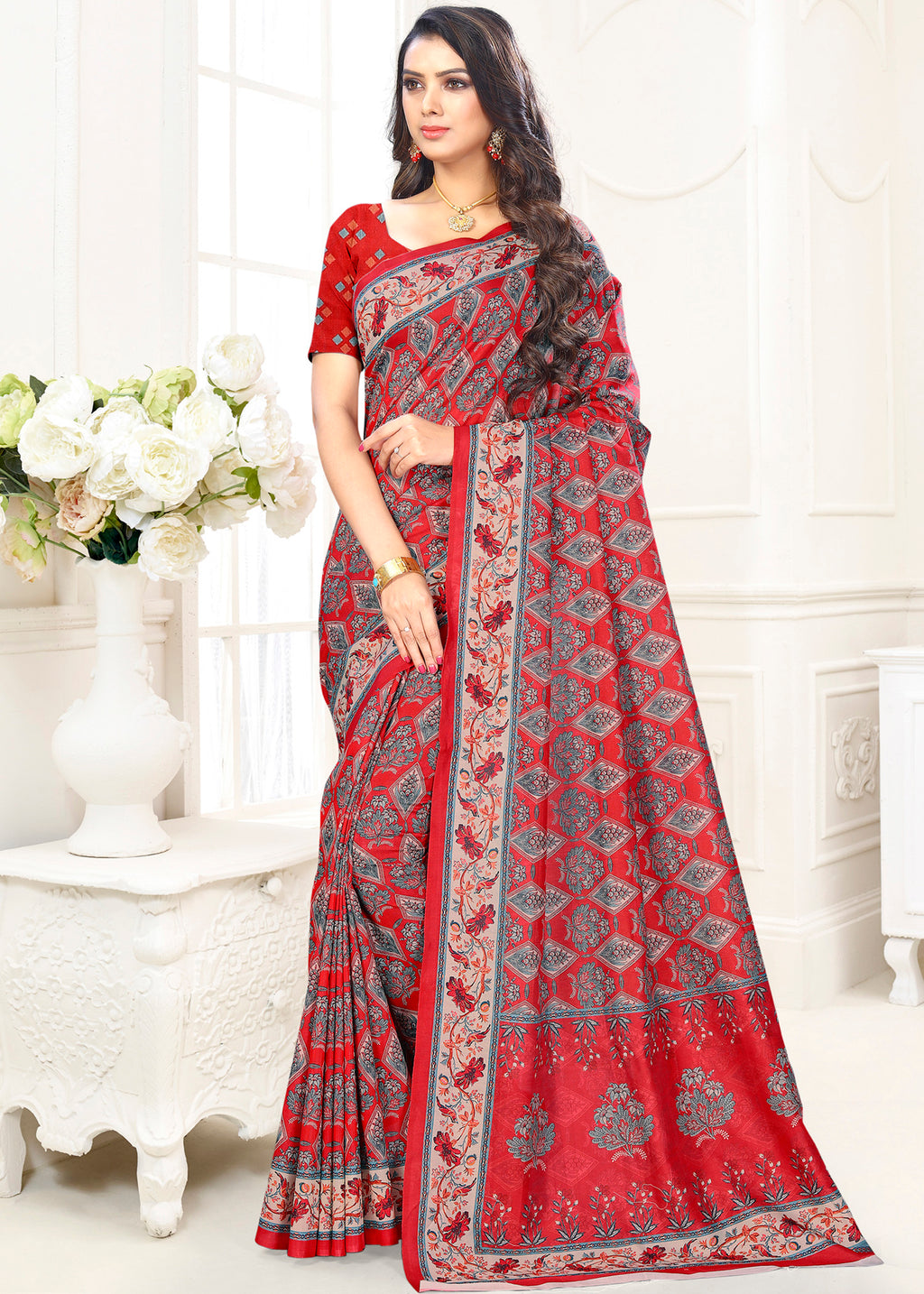 Red Color Cotton Casual Party Sarees NYF-9417