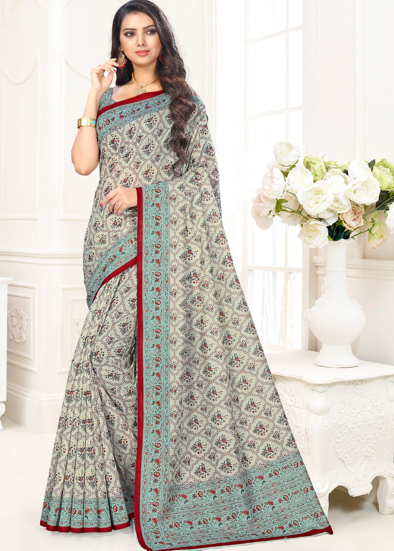 Grey Color Cotton Casual Party Sarees NYF-9418