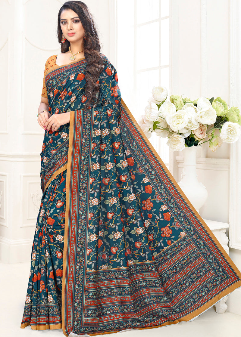 Blue Color Cotton Casual Party Sarees NYF-9420