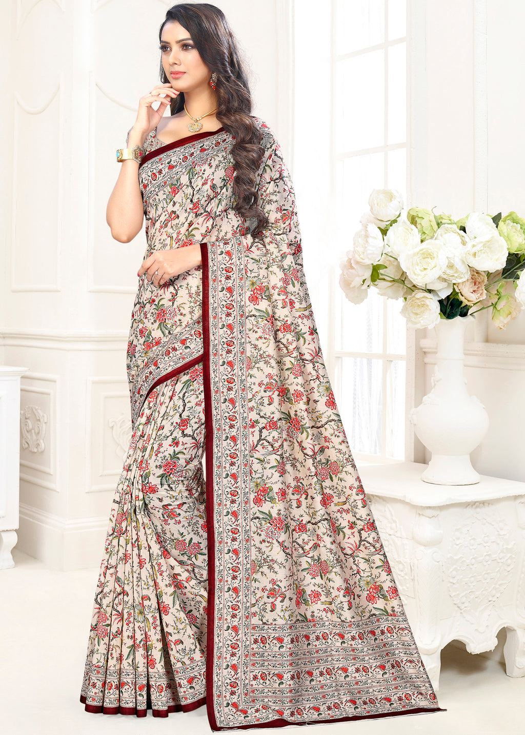 White Color Cotton Casual Party Sarees NYF-9421