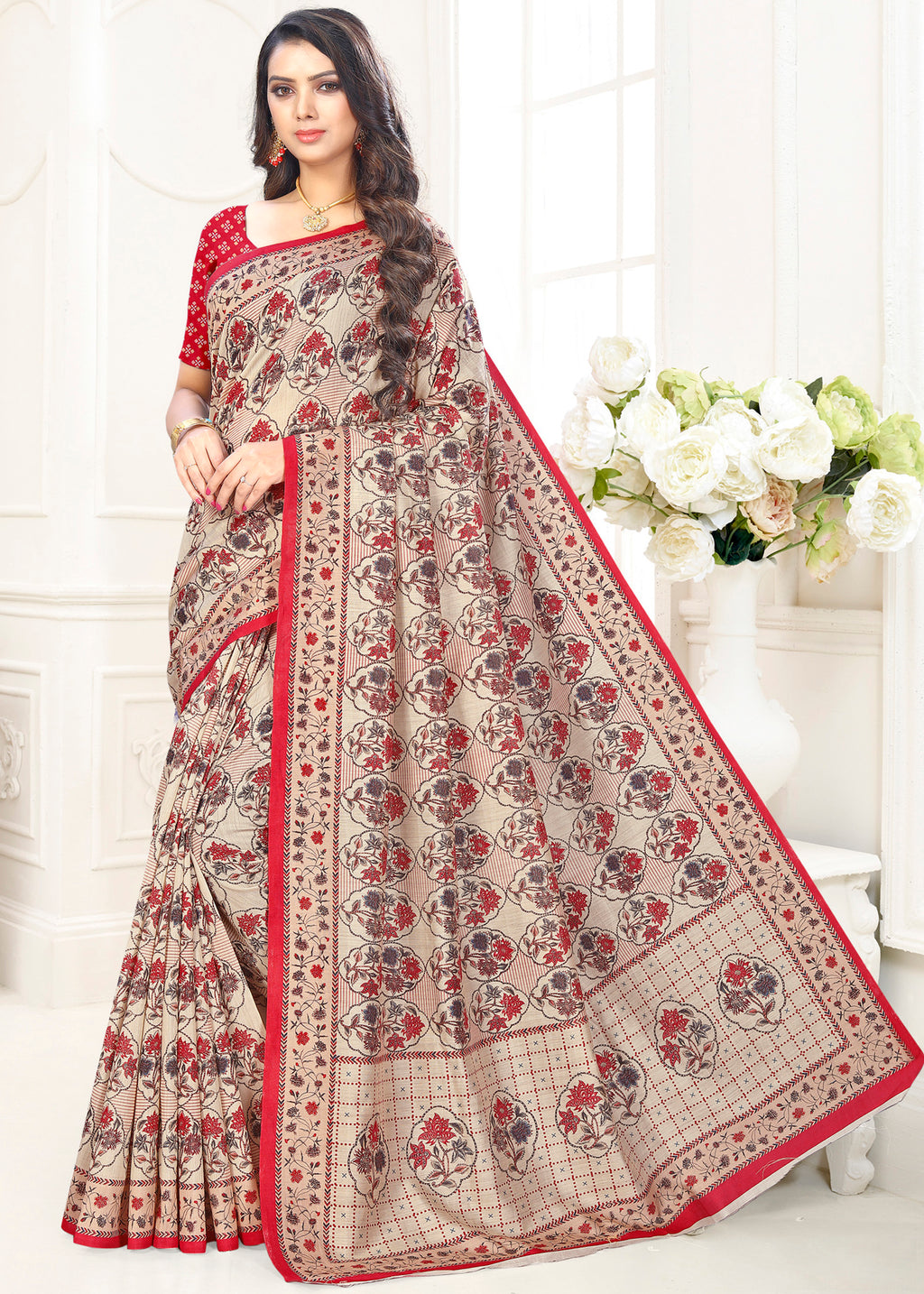Cream Color Cotton Casual Party Sarees NYF-9422