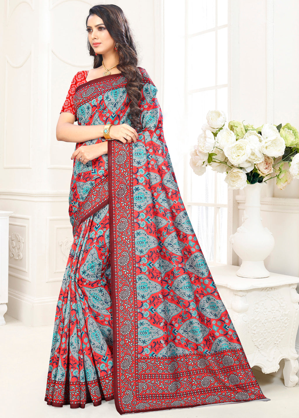 Blue Color Cotton Casual Party Sarees NYF-9424