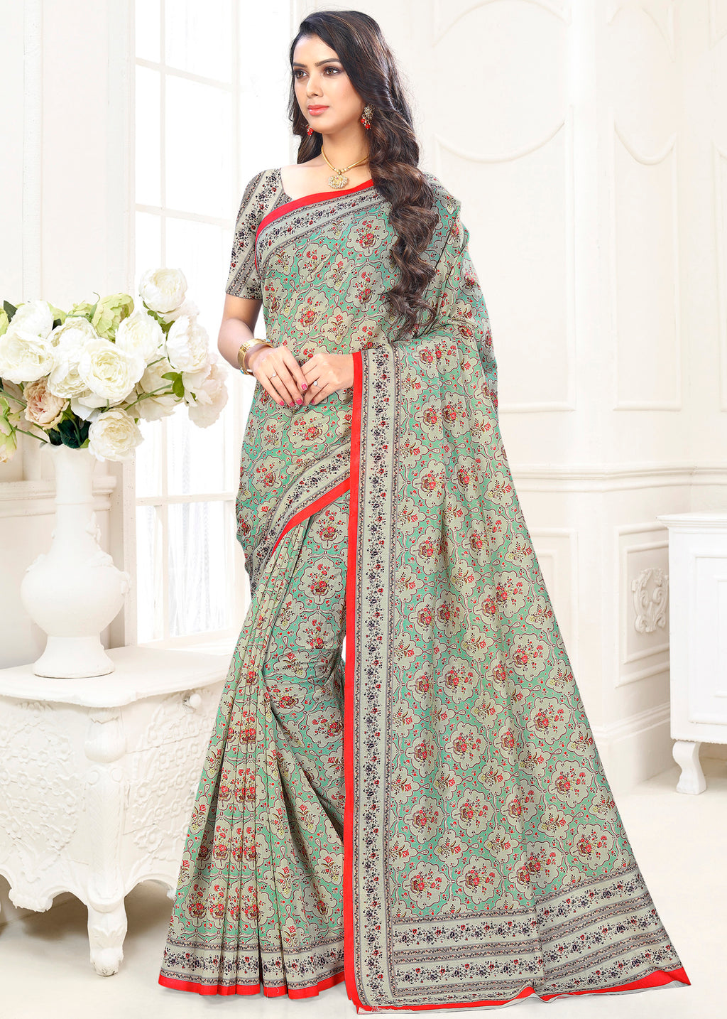 Aqua Green Color Cotton Casual Party Sarees NYF-9425