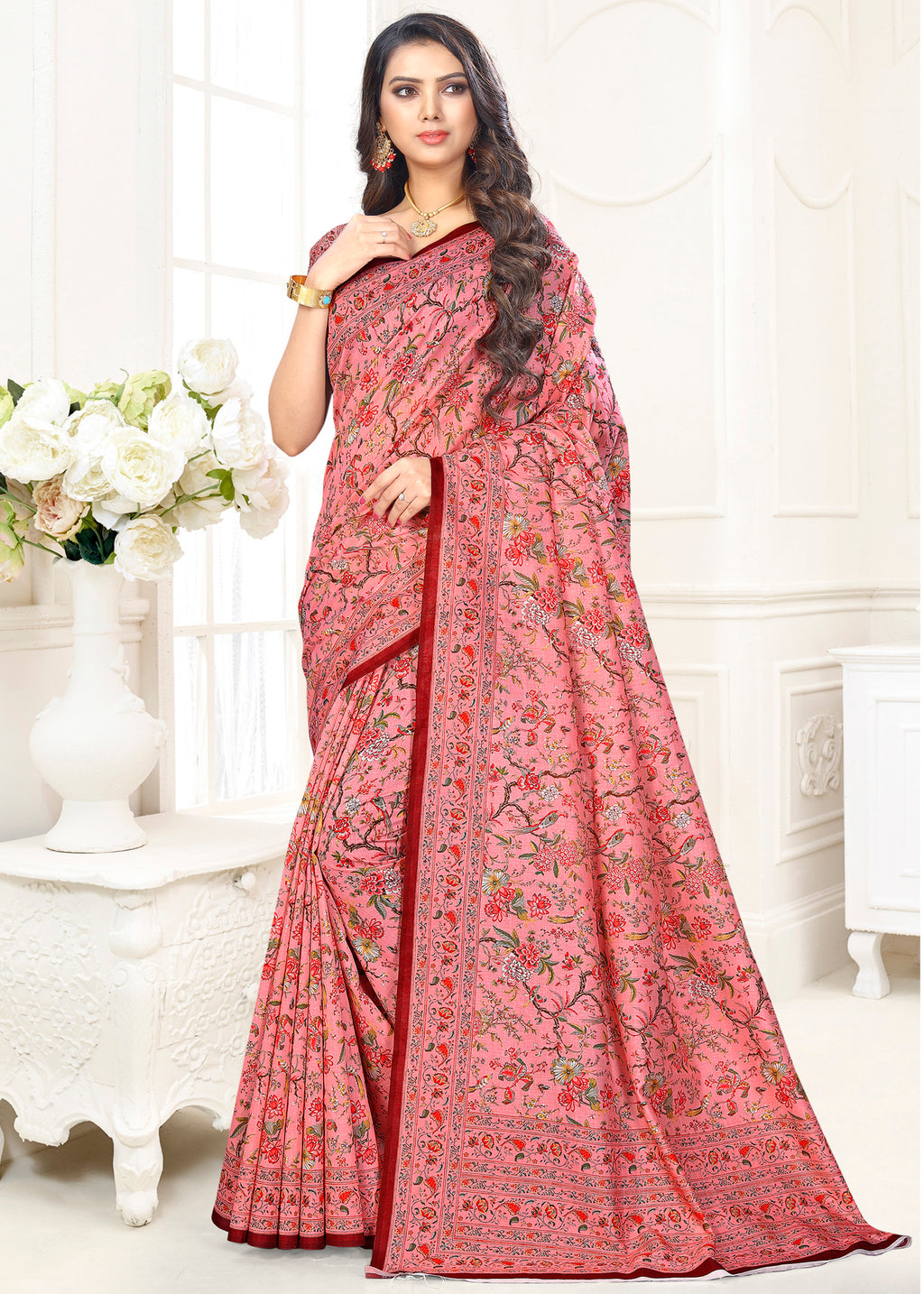 Pink Color Cotton Casual Party Sarees NYF-9426