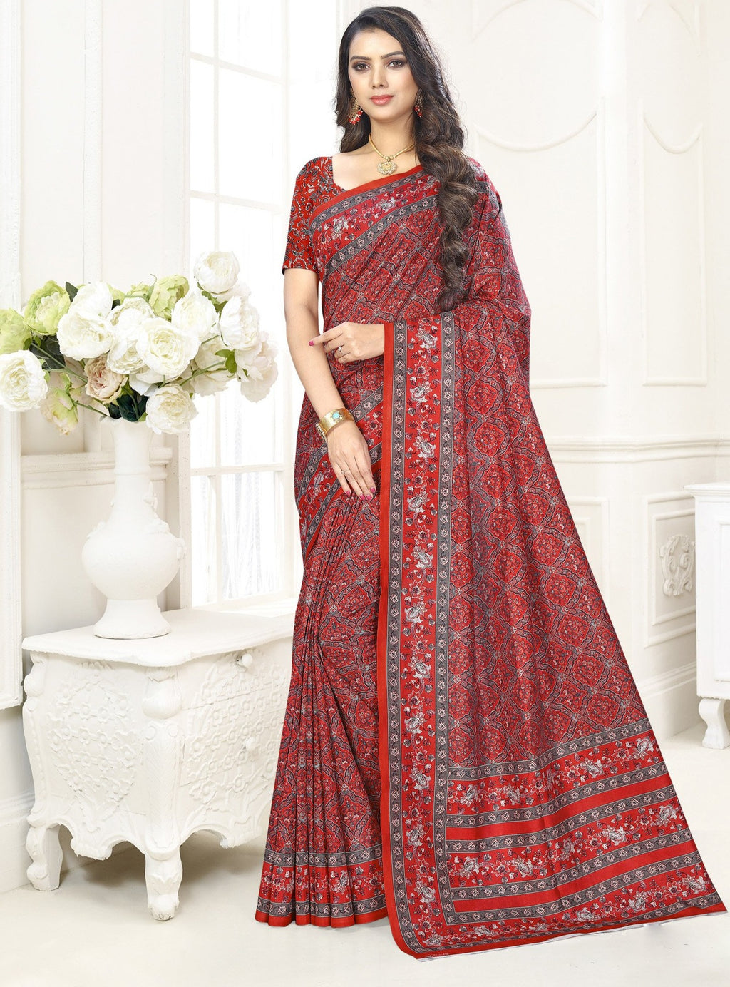 Red Color Cotton Casual Party Sarees NYF-9428