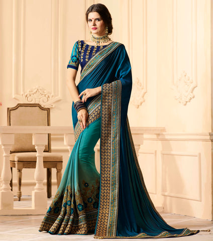 Light & Dark Blue Color Half Georgette & Half Raw Silk Designer Wedding Wear Sarees : Preyasi Collection  YF-58884