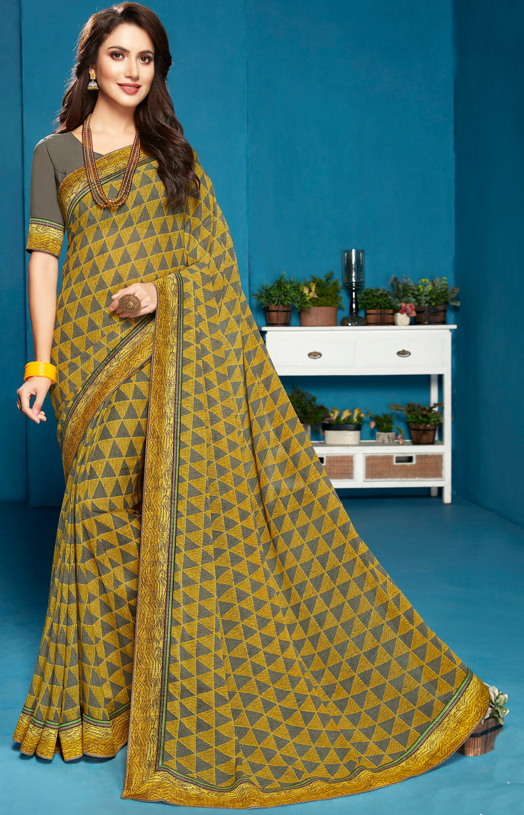 Olive Green Color Georgette Digital Print Sarees NYF-5291