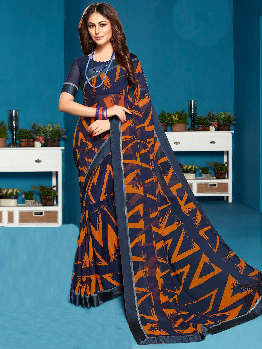Orange & Blue Color Georgette Casual Printed Sarees NYF-5293
