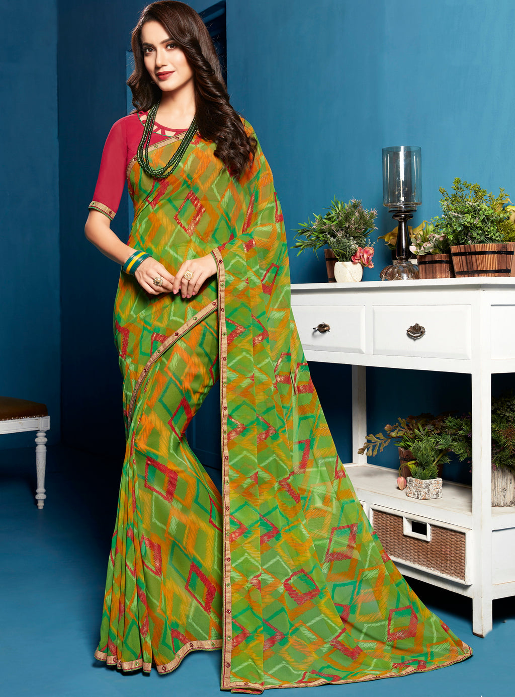 Parrot Green Color Georgette Digital Print Sarees NYF-5294