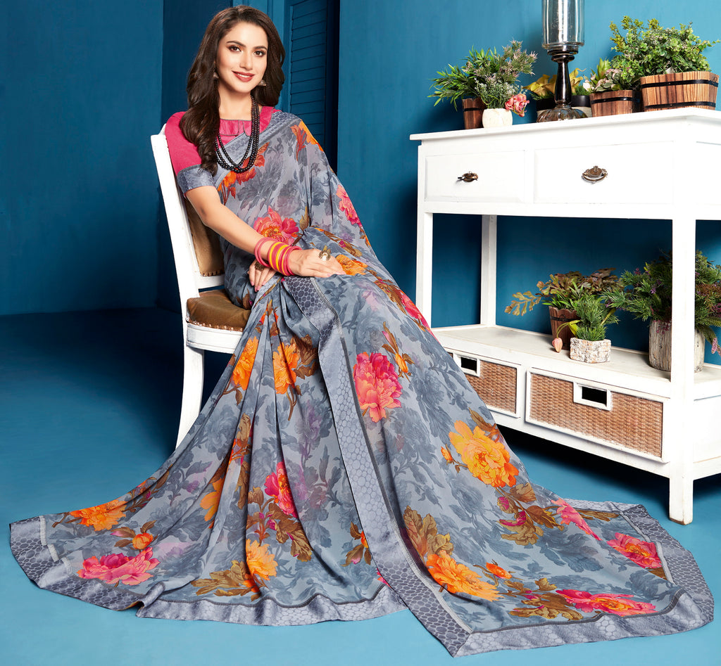 Grey Color Georgette Floral Print Sarees NYF-5295