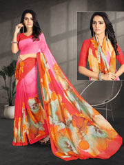 Maroon Color Chiffon Party Wear Sarees : Shrukti Collection  YF-51859