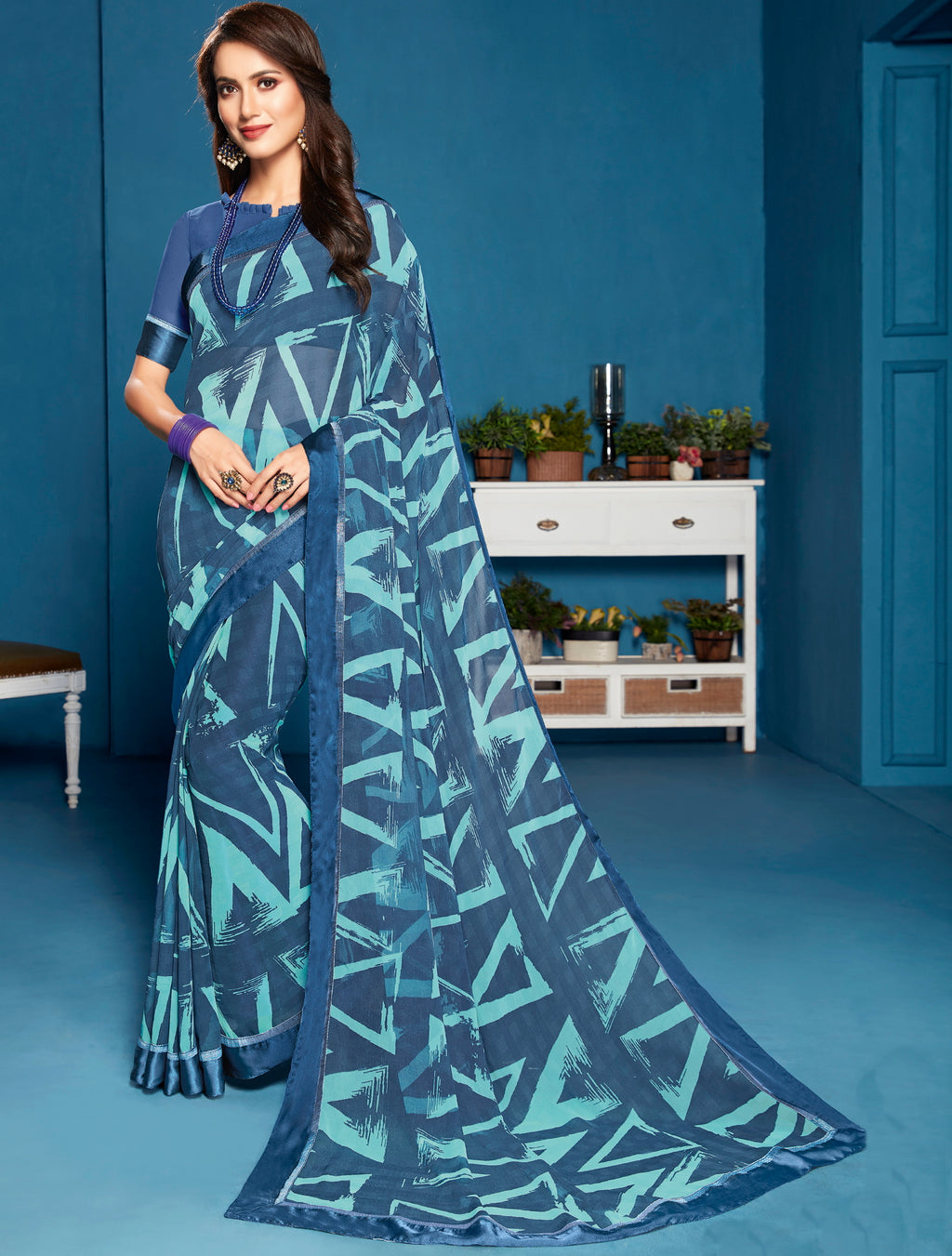 Blue Color Georgette Casual Printed Sarees NYF-5296