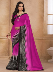 Rani Pink Color Georgette Casual Wear Sarees : Gargi Collection  YF-46388