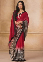 Red Color Georgette Casual Wear Sarees : Gargi Collection  YF-46389