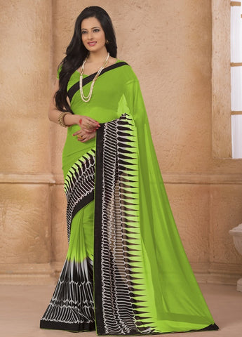 Grass Green Color Georgette Casual Wear Sarees : Gargi Collection  YF-46390
