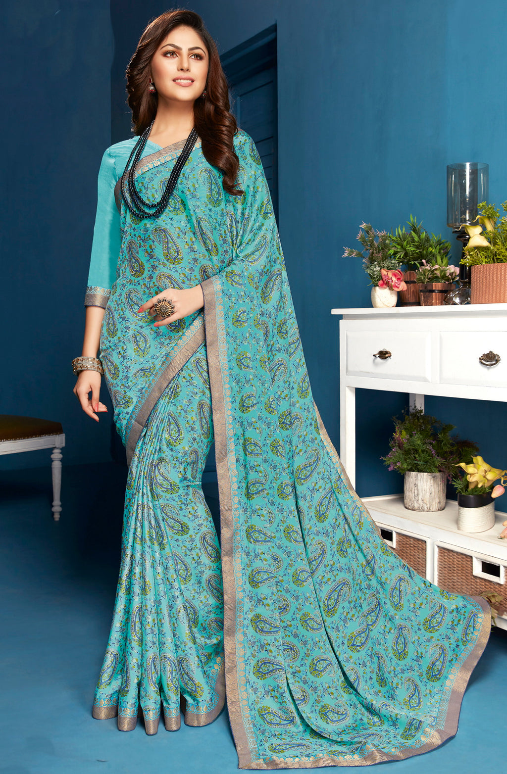 Aqua Blue Color Crepe Casual Printed Sarees NYF-5297