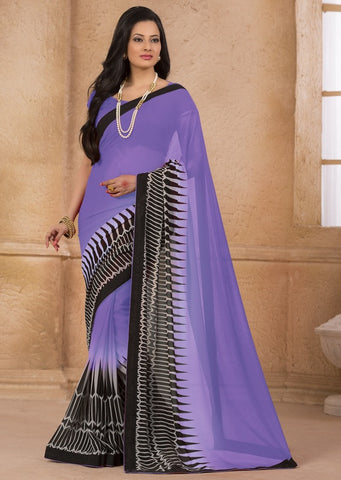 Lavender Color Georgette Casual Wear Sarees : Gargi Collection  YF-46394