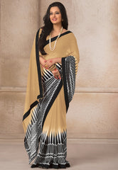 Light Coffee Color Georgette Casual Wear Sarees : Gargi Collection  YF-46395